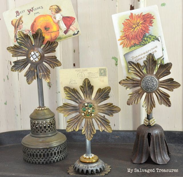 Thanksgiving Greetings ~ Magnetic Card Holders created with miscellaneous lamp parts, buttons, and rhinestone jewels.  From MySalvagedTreasures.com