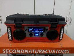 DIY jobsite radio with car stereo, speakers, inverter and led lights with 18ah 12v battery