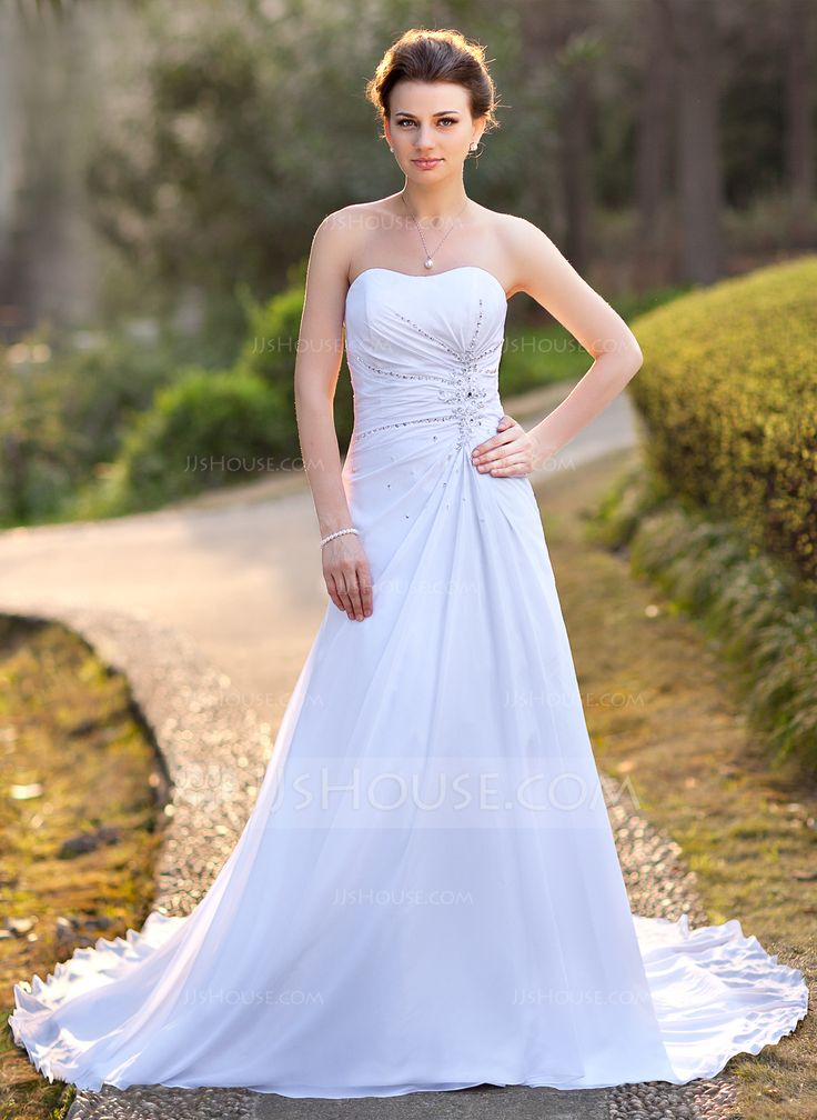 A-Line/Princess Sweetheart Court Train Chiffon Satin Wedding Dress With Ruffle Beading Appliques Lace Sequins (002004588) - JJsHouse