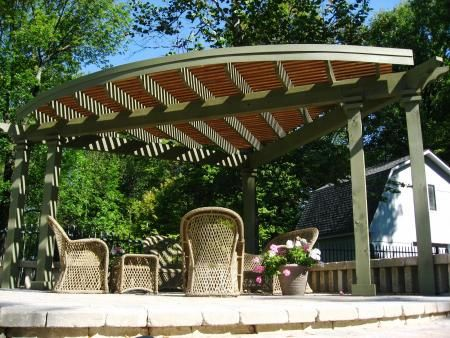 corner pergola with sun shade porch idea pinterest. Black Bedroom Furniture Sets. Home Design Ideas