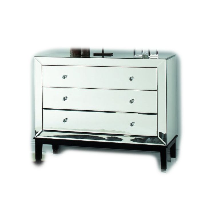 European Mirrored Chest Of 3 Drawers