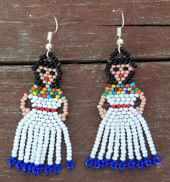Hand Stitched Native White Doll folklorico Dress Lady Earrings