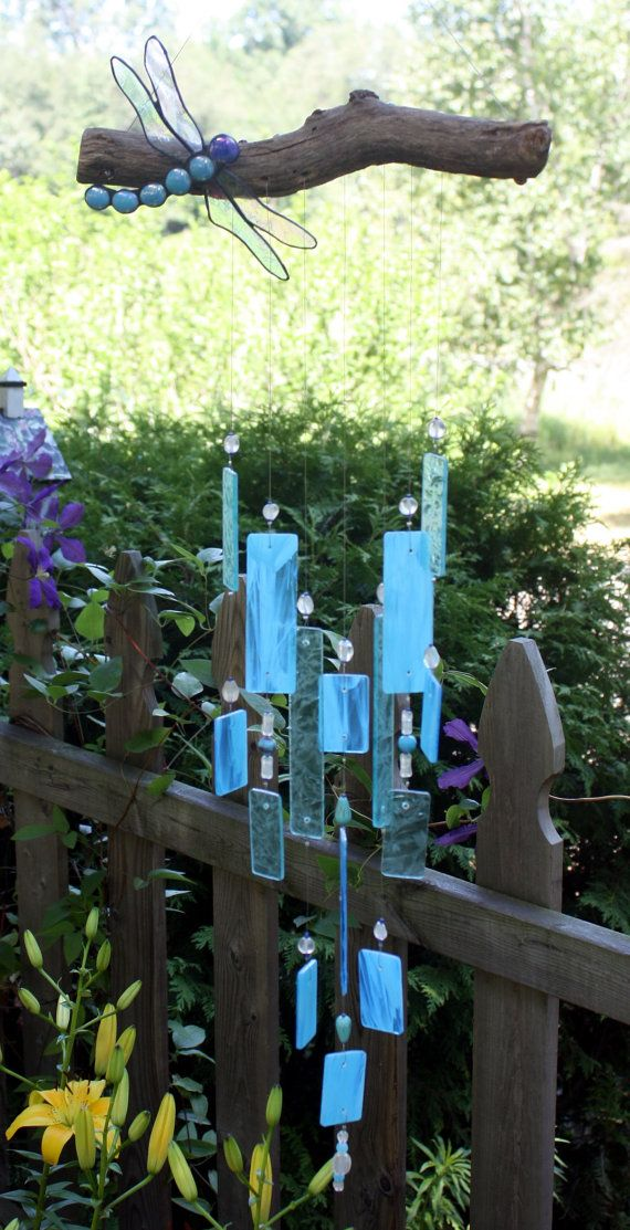 Baby Blue Stained Glass Dragonfly Wind Chime