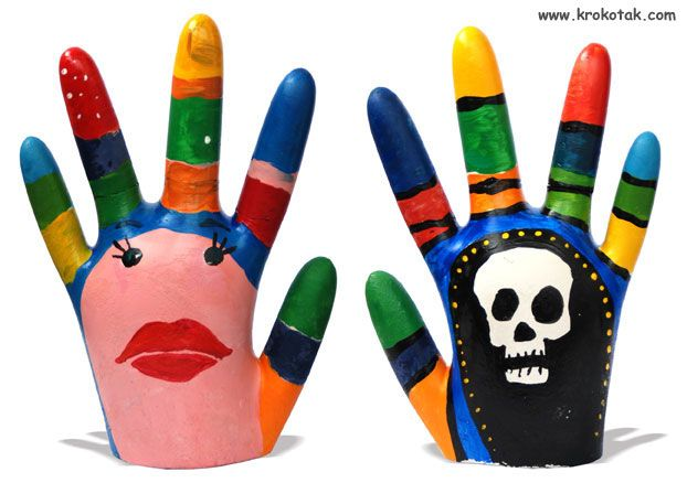 Plaster of Paris hands made with rubber glove
