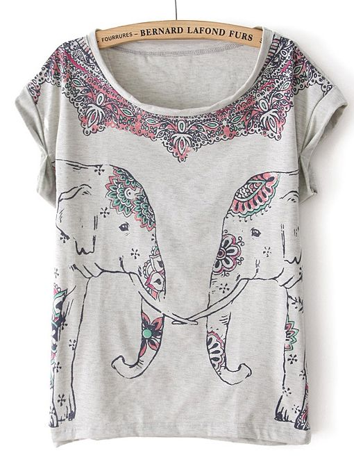 Grey Batwing Short Sleeve Elephant Print T-Shirt US$21.64......Love this just bought it :)