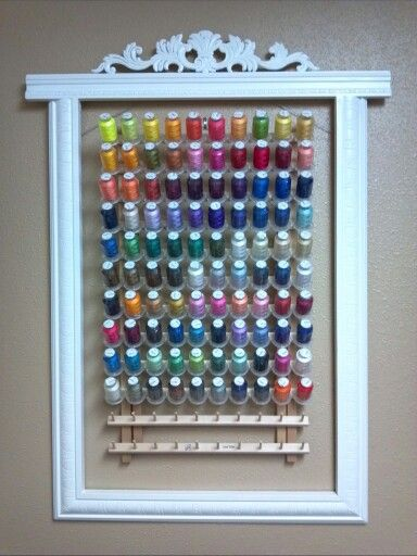 Use a vintage frame to display and organise your thread collection