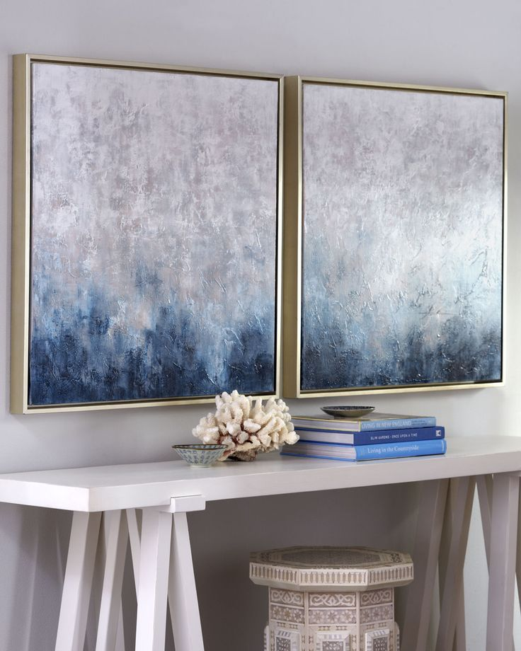 Frost on Sapphire Paintings, white console table and simple accessories for a coastal hallway. (horchow.com)