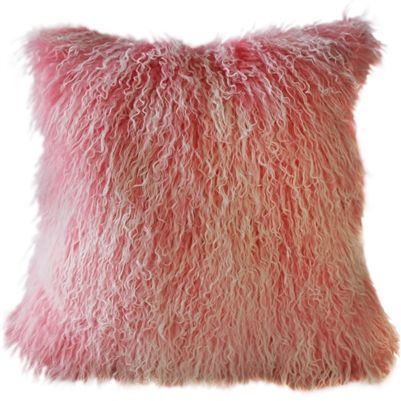 Mongolian Sheepskin Frosted Pink Throw Pillow  When Nothing Goes Right Throw Pillow  #PinkDecor #Inlovewithpink #Girl #InteriorDesign #pillowdecorcom