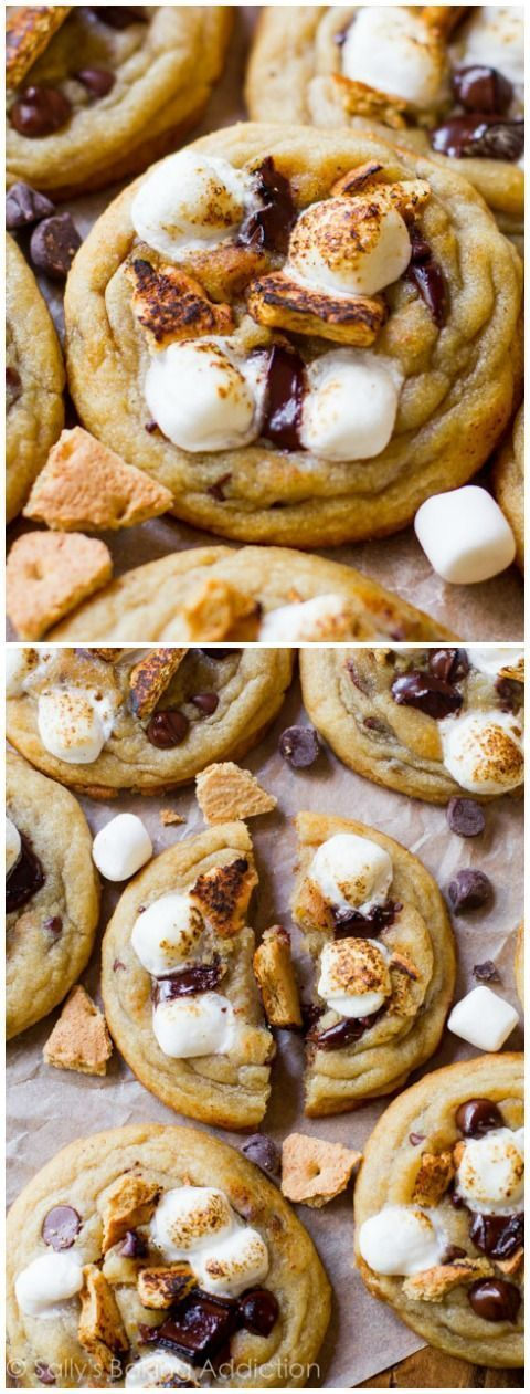 My popular chewy chocolate chip cookies get a S'MORES makeover with toasted tops!