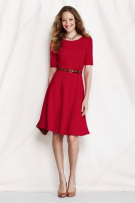 Women's Elbow Sleeve Ponte Boatneck Dress from Lands' End