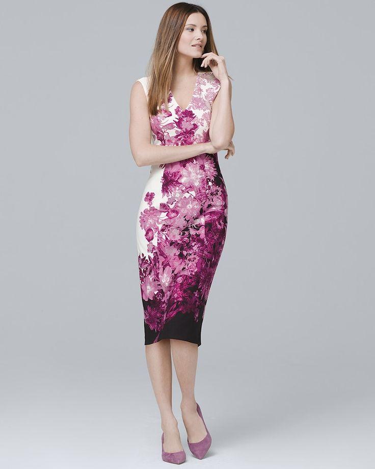 Sleeveless Lilac/Pink Floral-Print Sheath Dress