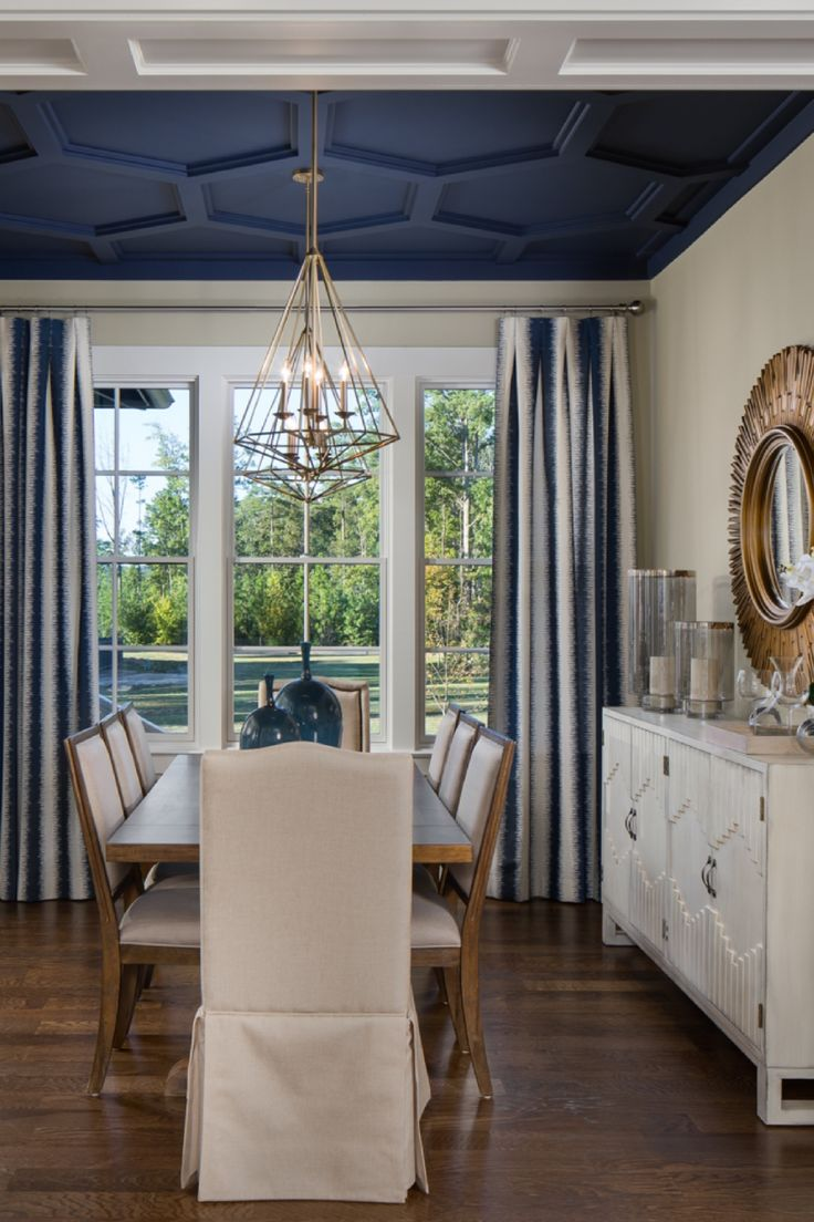 Another View Of The Gorgeous Dining Room With Coffered Ceilings In A High Gloss Navy