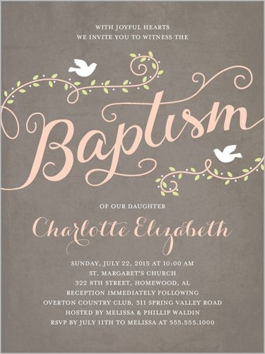 Baptism Invitations: Faithful Flight Girl, Square, Grey
