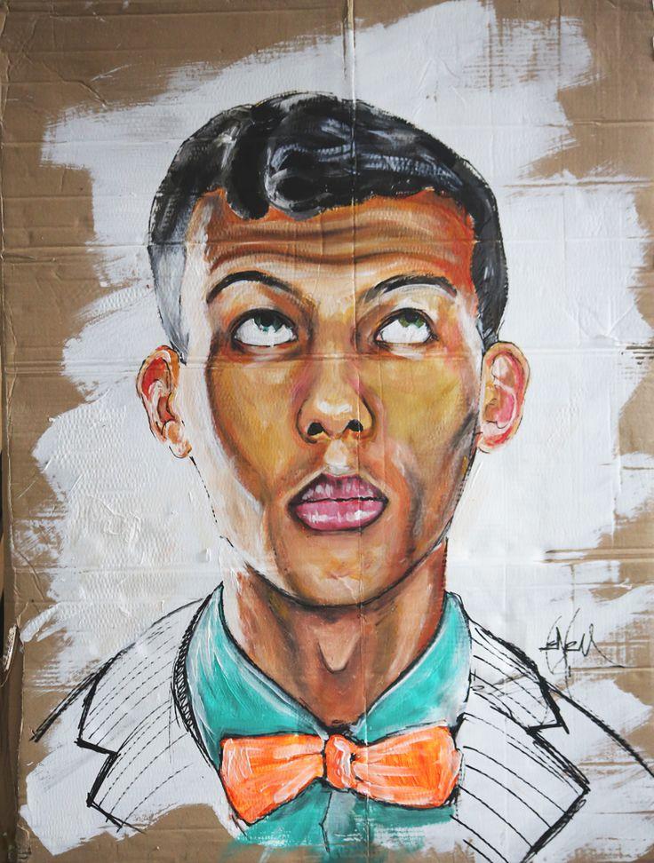 Stromaé : acrylic on cardboard, acrylique sur carton   by Henry Hang      Paris