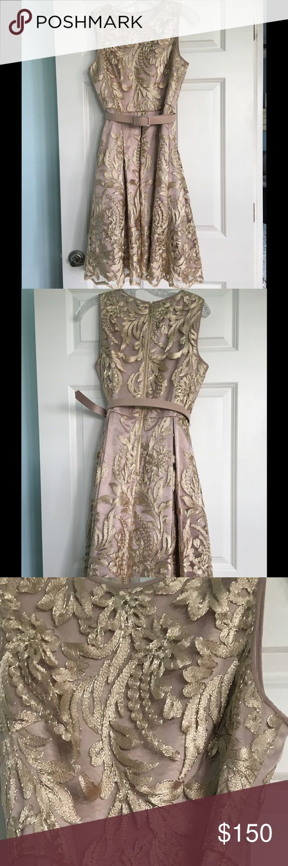 BHLDN by Anthropologie Rosa Dress Stunning gold tea length dress with metallic gold lace overlay. This is the perfect dress for any occasion! It comes with a tonal belt to flatter the waist line and features hidden pockets to store your lipstick. Worn once and like new. Size 6 from anthropologie's BHLDN line. Anthropologie Dresses Midi