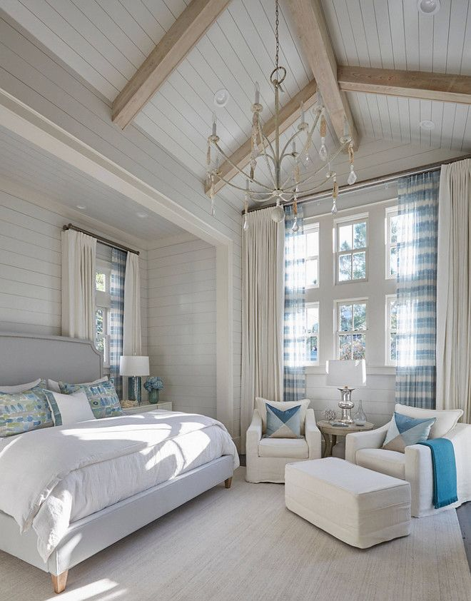 Master Bedroom With Shiplap Walls And Vaulted Ceiling