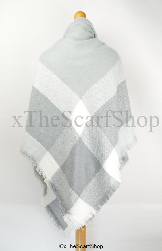 Grey and White Oversize Square Check Blanket Knit by xTheScarfShop