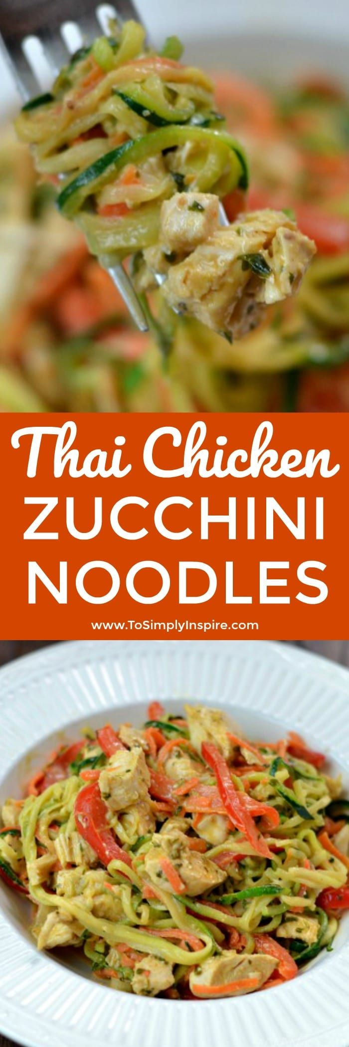 Thai Chicken Zucchini Noodles with Spicy Peanut Sauce recipe is the ultimate healthy meal packed with unbelievable restaurant quality flavors.  Made with simple ingredients, you can have it ready to serve in less than 20 minutes.