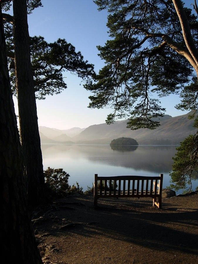 View From Friars Cragg, Keswick, England. I sat here with my old Dad, shared a sandwich with him & we watched the sun go down. Such a wonderful place. I miss you Dad. X