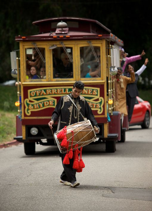 San Francisco Cable Car Baraat at Indian wedding. This is too cute.