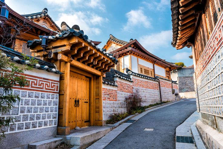 Traditional Korean style architecture at Bukchon Hanok Village in Seoul, South Korea. #Traditional #architecture #Village