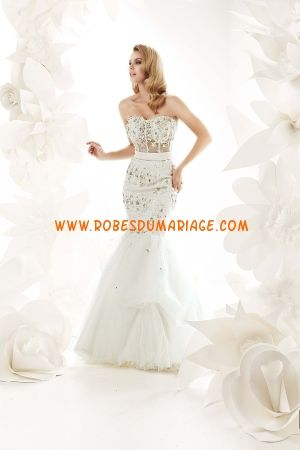 Simone Carvalli robe bustier 2012 sirène cristaux robe de mariée organza