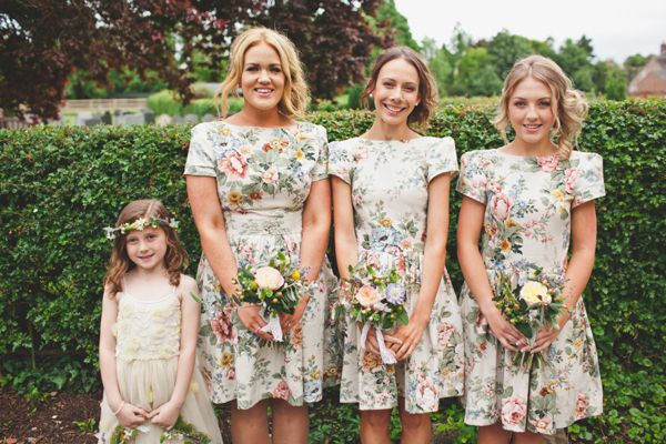 Pretty floral 40s/50s style bridesmaids dresses by Think Boutique www.thinkboutique.co.uk.  http://www.lauramccluskeyphotography.com/