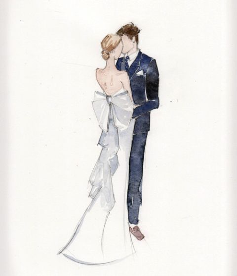 Love the idea of a painting of the couple for a wedding gift! Nic & Alix watercolor by Britt Chudleigh