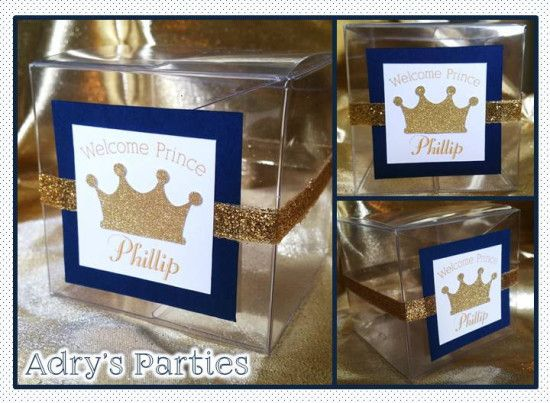 prince royal baby shower favor boxes