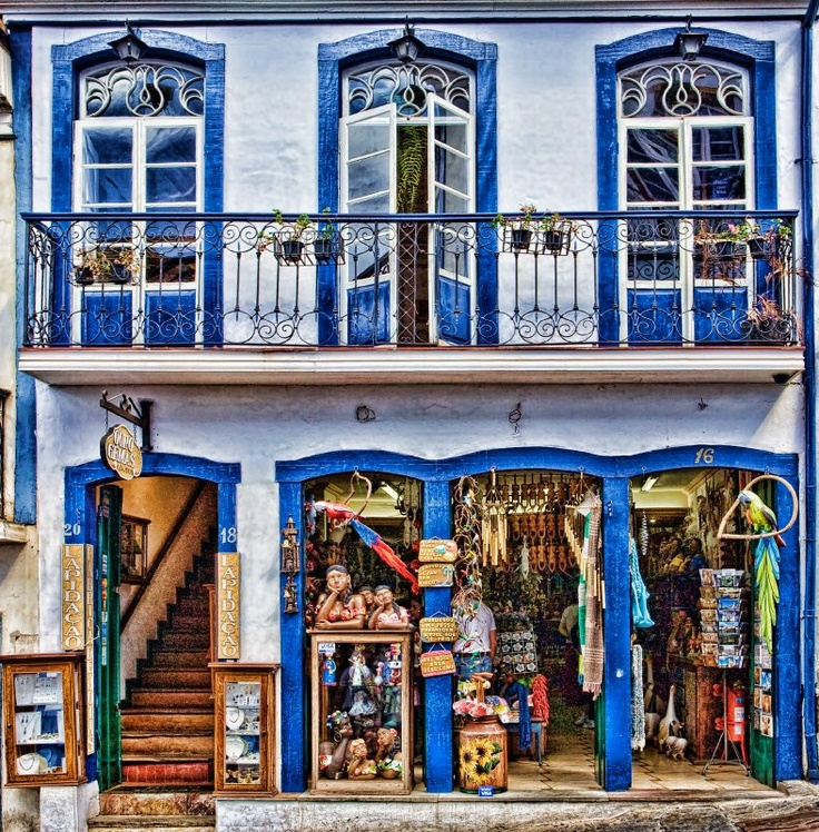 a typical shopfront in the town of Ouro Preto, in the state of Minas Gerais, Brazil,