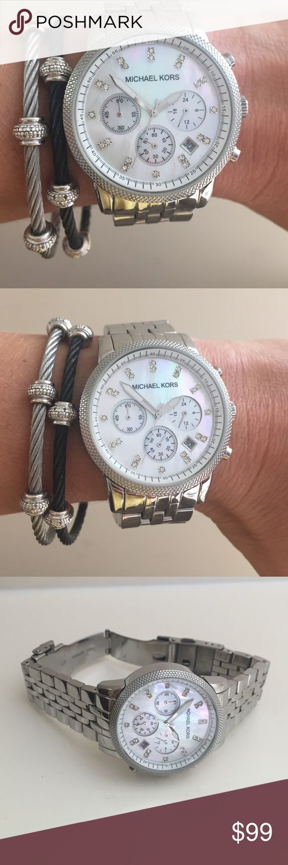 Michael Kors stainless steel ladies watch Michael Kors stainless steel glitz digit watch with mother of pearl face.  (Have extra links) Michael Kors Accessories Watches