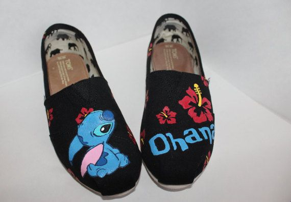 This pair of hand painted TOMS is designed after the character Stitch from Disneys Lilo and Stitch. The price includes both the pair of shoes and