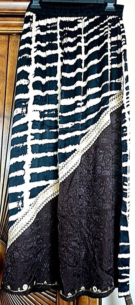 Tienda Ho Animal Print Long Skirt New, One Size - Black, Brown, Cream and Gold  #TiendaHo #Maxi #Casual