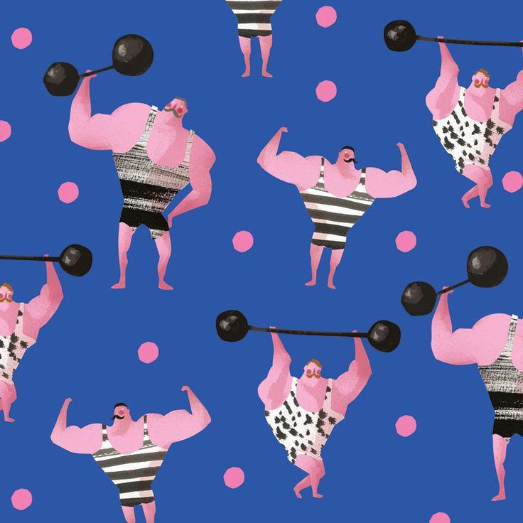 pink athletes illustrations on Behance