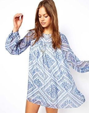 Image 1 of ASOS Swing Dress In Patchwork Print