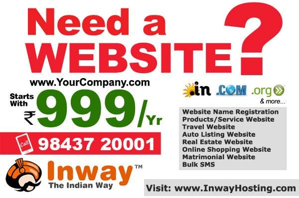 Get Website Rs.999 plan at Inwayhosting