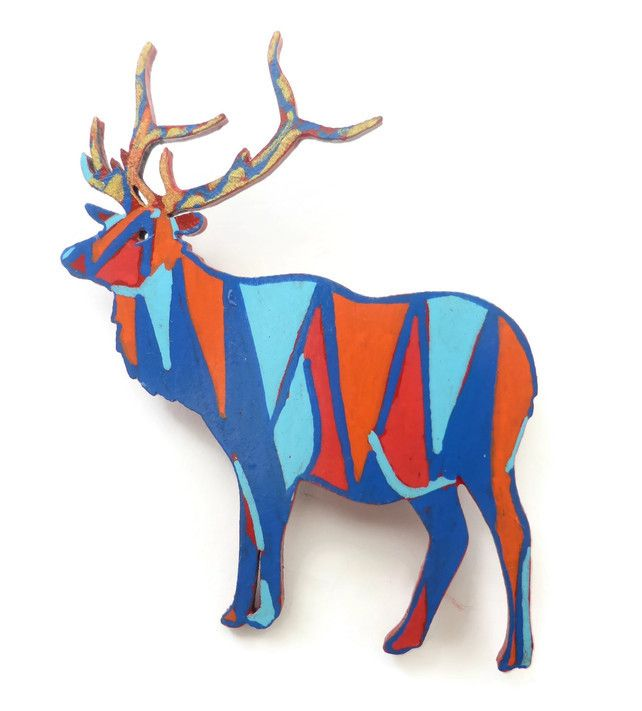Hand Painted Deer Brooch On Wood, Wearable Art Jewellery £15.00