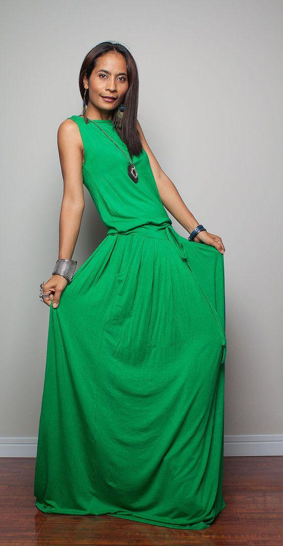 PLUS SIZE Green Maxi Dress   Sleeveless dress : Autumn by Nuichan