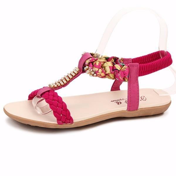 4ebecdf81 Women Summer Chic Sandals Beach Rhinestone Peep Toe Shoes Flat Sandals