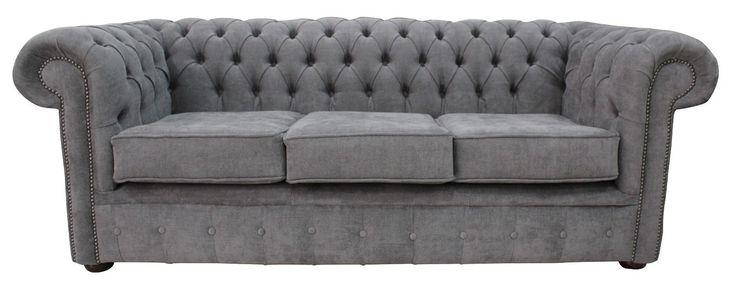 DesignerSofas4U | Buy Pewter velvet Chesterfield sofa UK