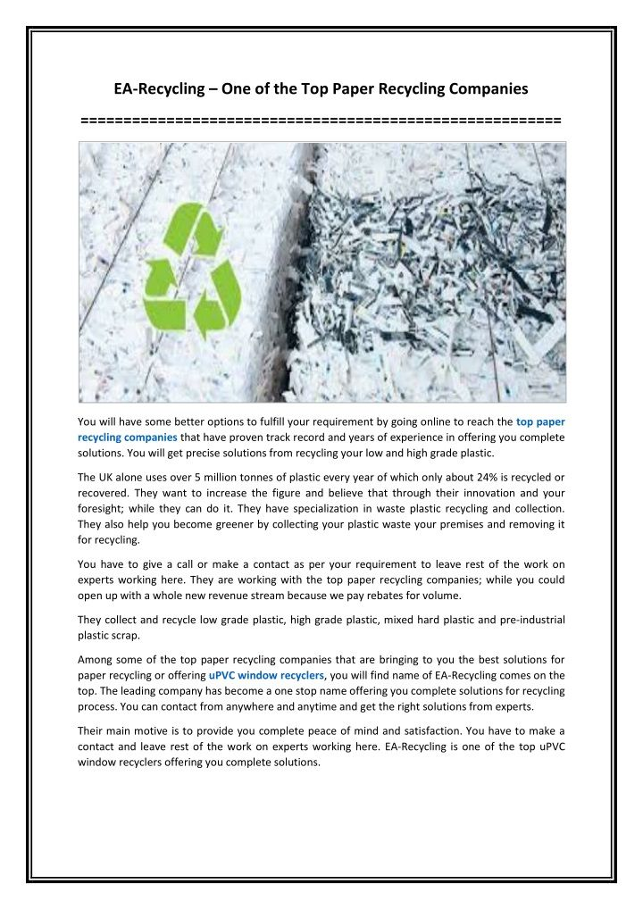 EA-Recycling – One of the Top Paper Recycling Companies