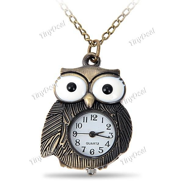 Classical Brown Owl Style Quartz Pocket Watch with Hanging Neck Chain for Girl Boy Child WUS-26553