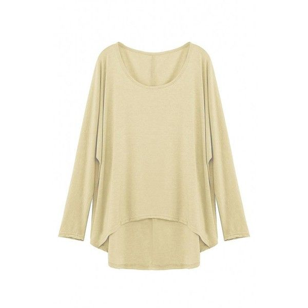 Yoins Yoins Beige Loose Women Casual Blouse ($10) ❤ liked on Polyvore featuring tops, blouses, beige, shirts & tops, batwing sleeve blouse, beige shirt, long length shirts, loose fit shirt and shirts & blouses