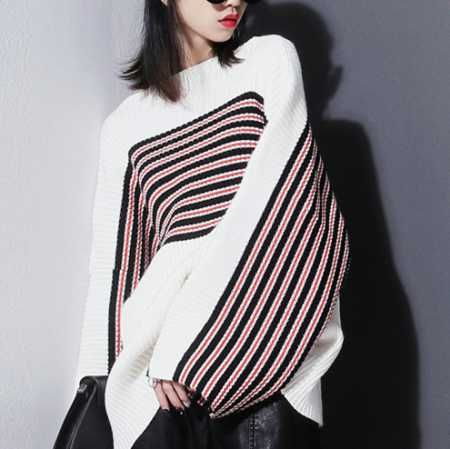 Red black striped sweater for women casual batwing sleeves sweater