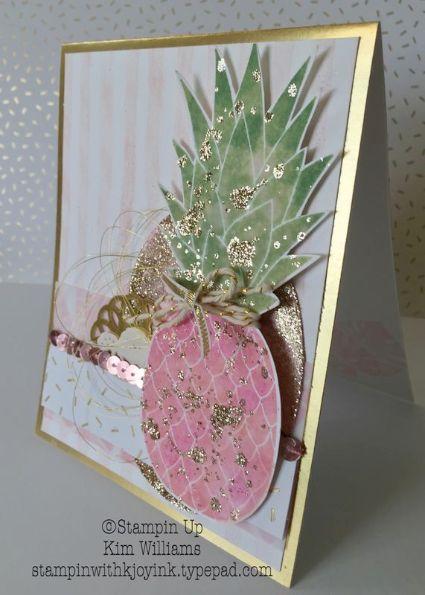Stampin Up Pineapple Stamp. Kim Williams, Pink Pineapple Paper Crafts…