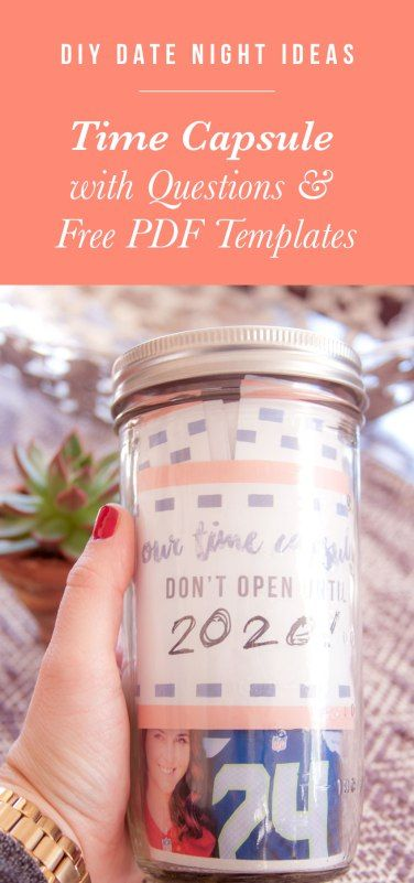 DIY date night ideas: Time capsule with questions and free PDF templates.