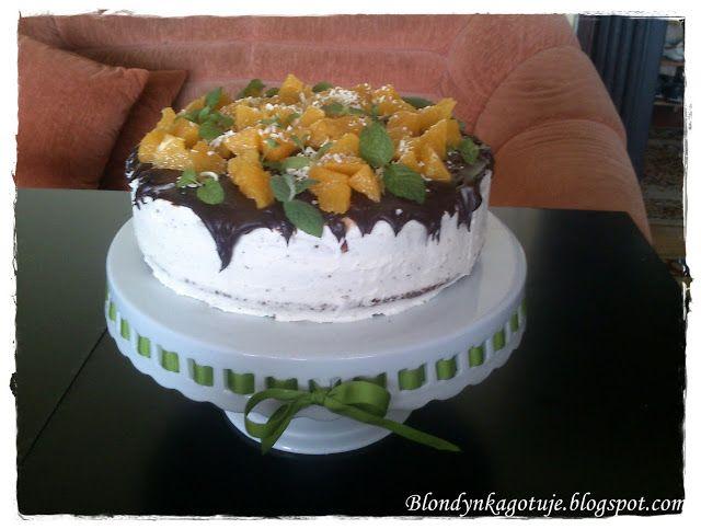 Blondynka Gotuje: Tort Pomarańczowo - Waniliowy z Miętową Nutą