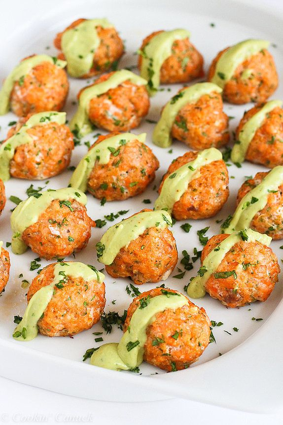 Get the recipe: baked salmon meatballs with creamy avocado sauce Image Source: Cookin Canuck