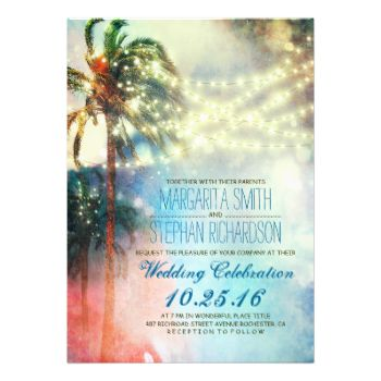 Romantic watercolor - ombre beach wedding invitation with dreamy palm trees and twinkle lights - amazing invite for tropical destination wedding - for wedding with blue and coral colors scheme. Make your guests wow with this colorful rustic (vintage yet modern) whimsical beach wedding invite-------Please contact me if you have question regarding this design or have a custom color request. ----------- If you push CUSTOMIZE IT button you will be able to change the font style, color, size, move…