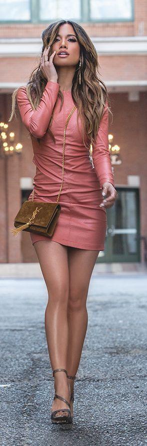 Leather Mini Dress Girly Style